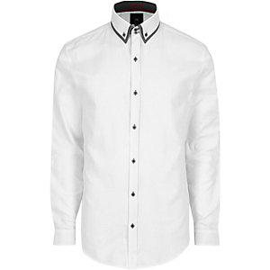 Big & Tall – Weißes Hemd mit Doppelkragen