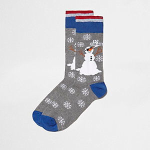 Grey 'so chilled' snowman socks