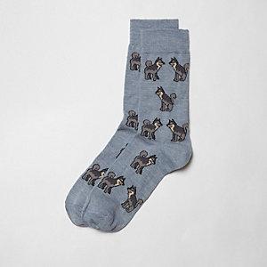 Blauwe sokken met wolf