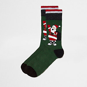 Green Santa glitter Christmas socks