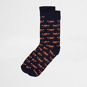 Marineblaue Socken mit Fuchsmotiv