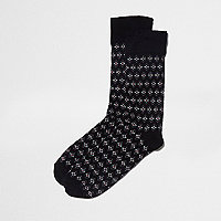 Black geo diamond socks