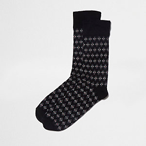 Black geo diamond socks