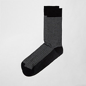 Chaussettes en bambou imprimé géométrique noires