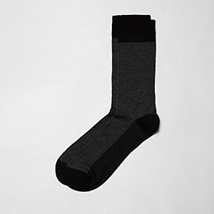 Black diamond geo bamboo socks