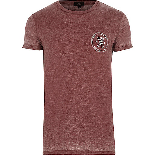 Dark red burnout 'revolution' print T-shirt