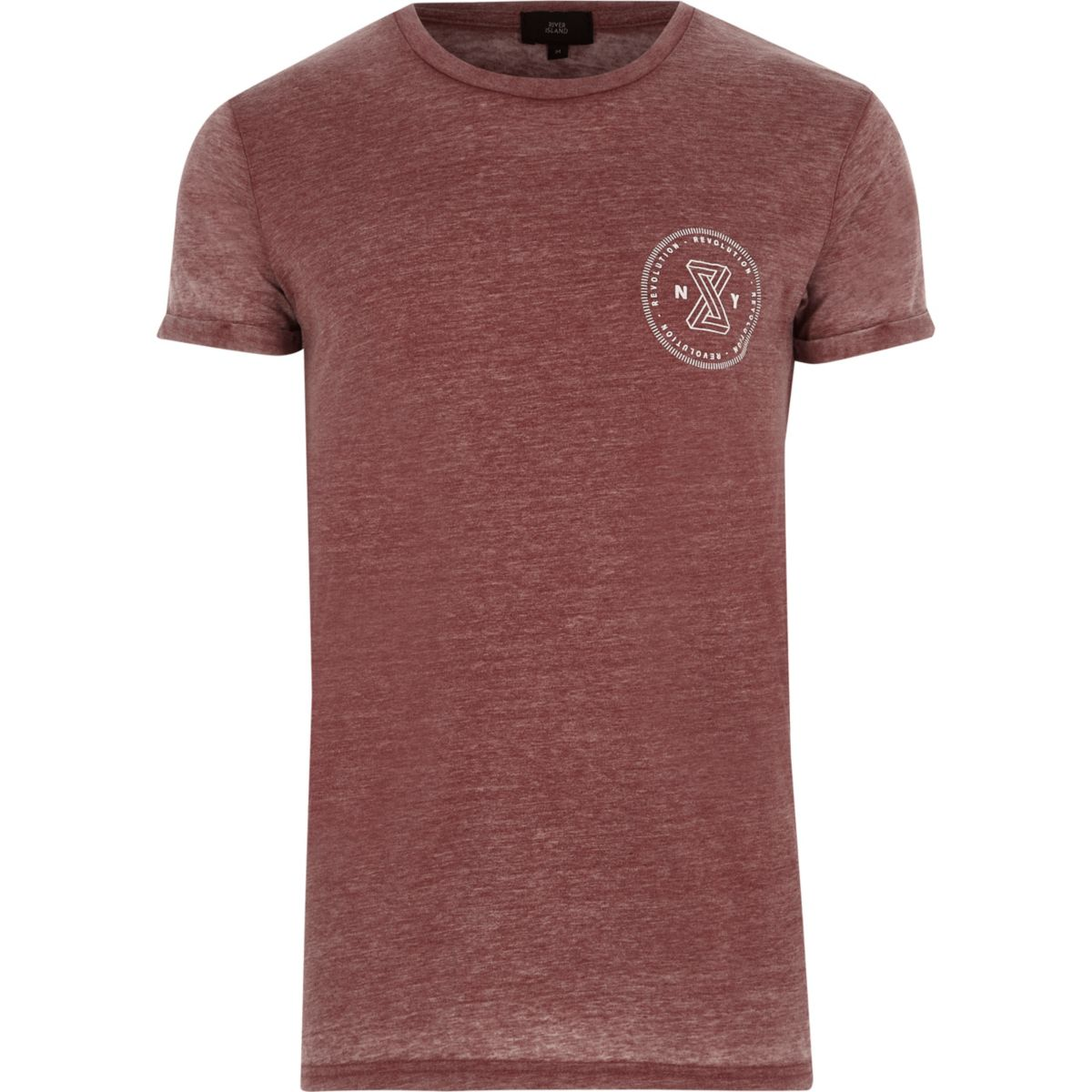 Dark red burnout 'revolution' print T-shirt