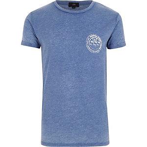 Blauw T-shirt met ronde hals en 'Stanton'-print