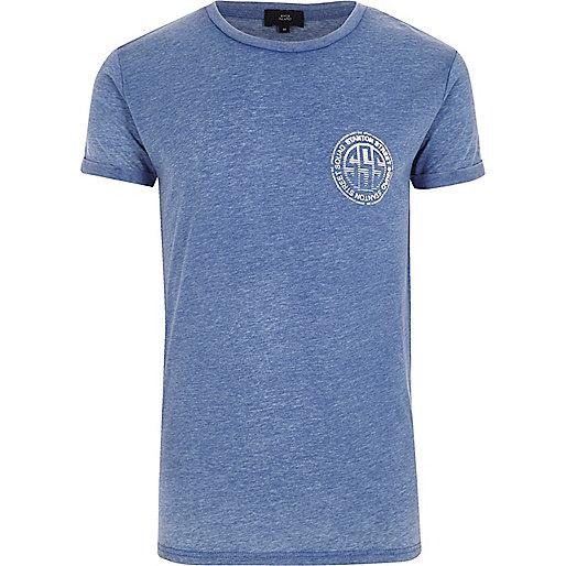 Blue 'Stanton' print crew neck T-shirt