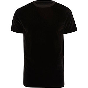 Black slim fit velvet crew neck T-shirt