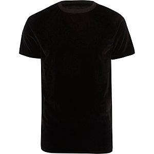 Schwarzes Slim Fit T-Shirt aus Samt