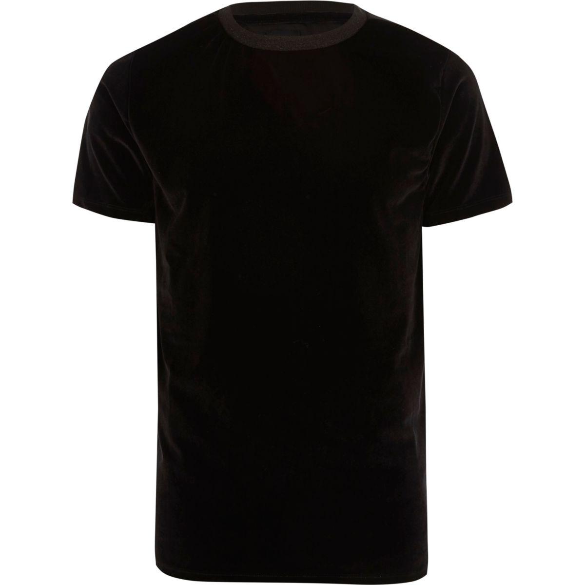 Black slim fit velvet crew neck T-shirt