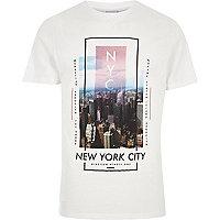 White 'New York City' print slim fit T-shirt
