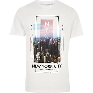 Wit slim-fit T-shirt met 'New York City'-print