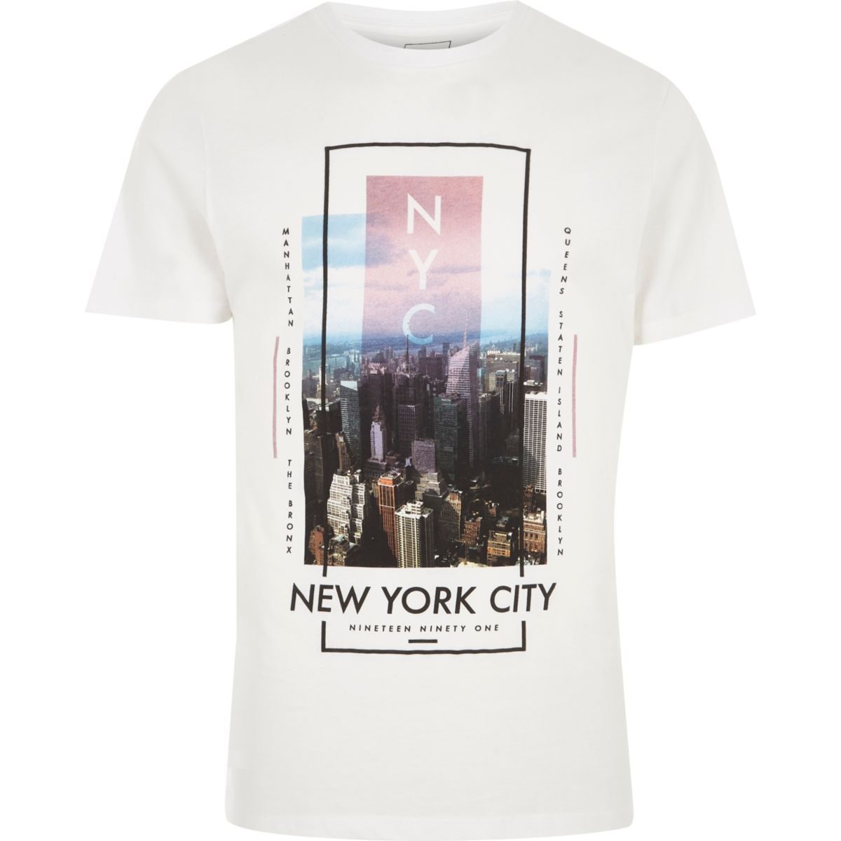 White 'New York City' print slim fit T-shirt
