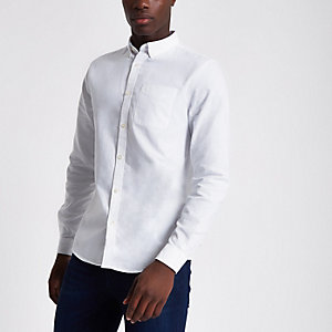 White long sleeve casual Oxford shirt