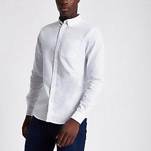 Wit casual Oxford overhemd met lange mouwen