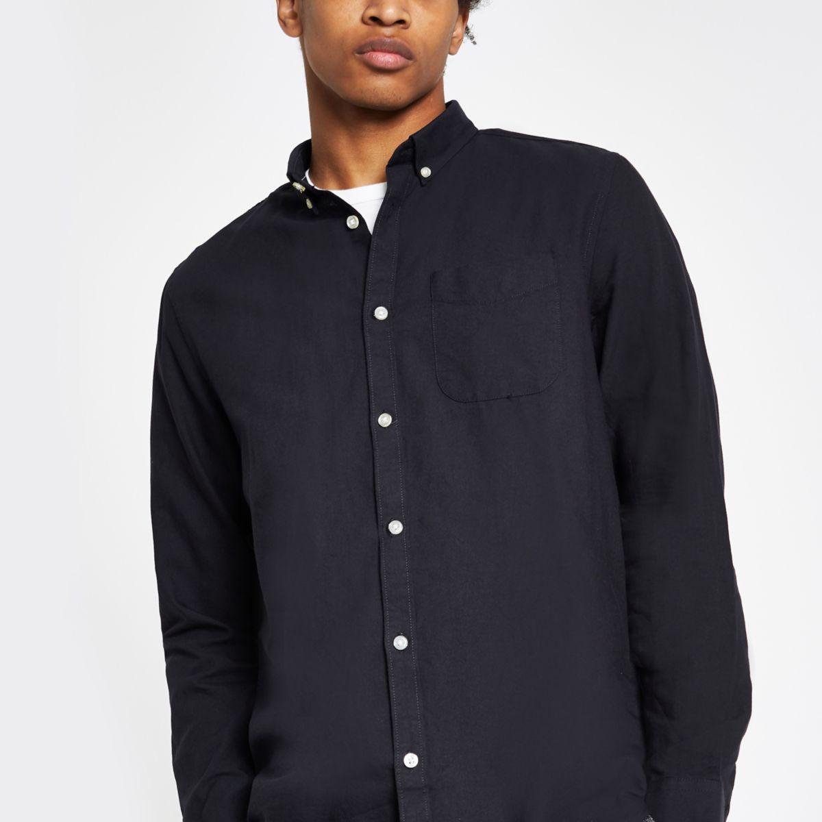 Navy Oxford long sleeve shirt