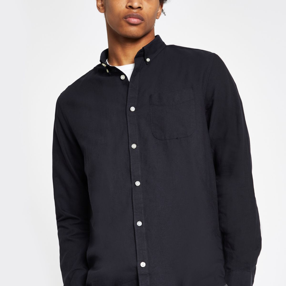 Navy Oxford long sleeve shirt