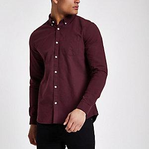 Paars Oxford-overhemd met lange mouwen