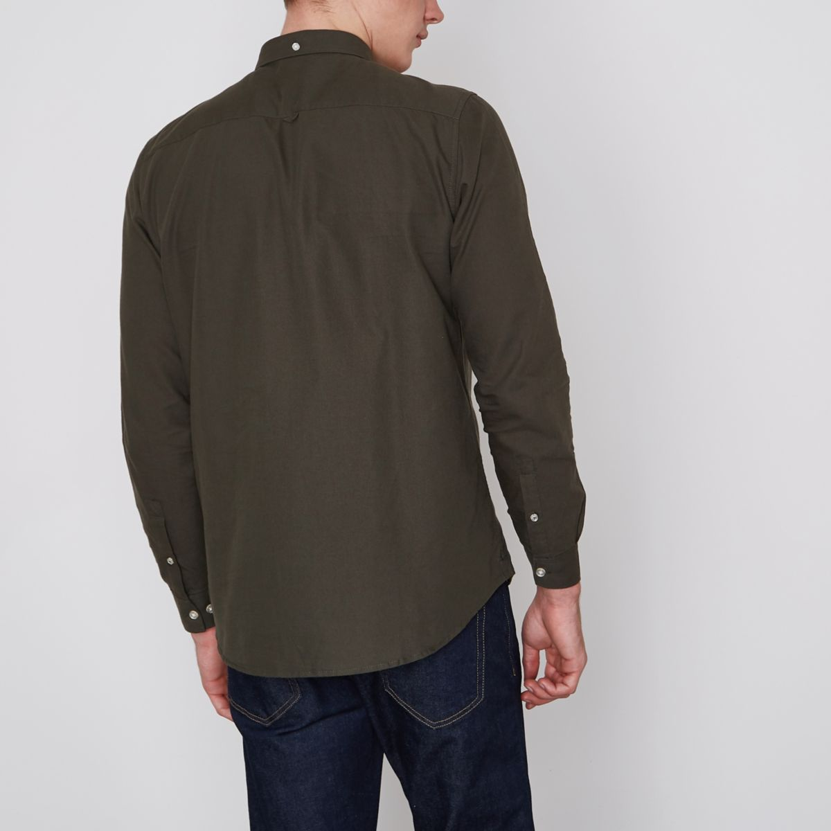 shirt Khaki Oxford long green sleeve wUItnqHCU