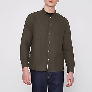 Khaki green button-down Oxford shirt