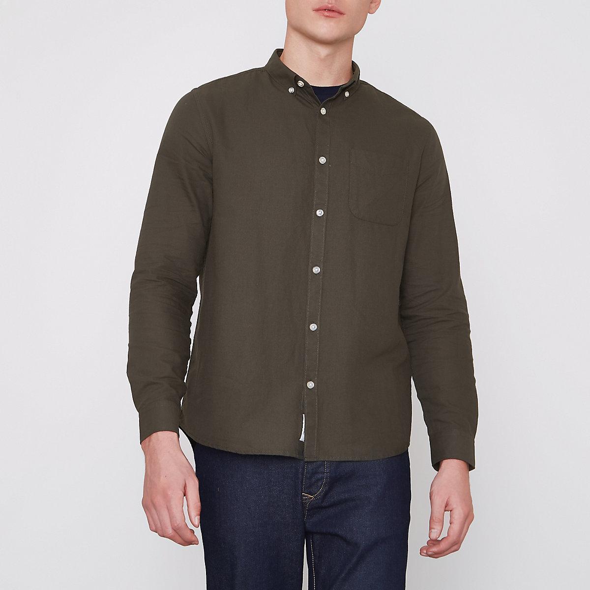 Khaki green long sleeve Oxford shirt