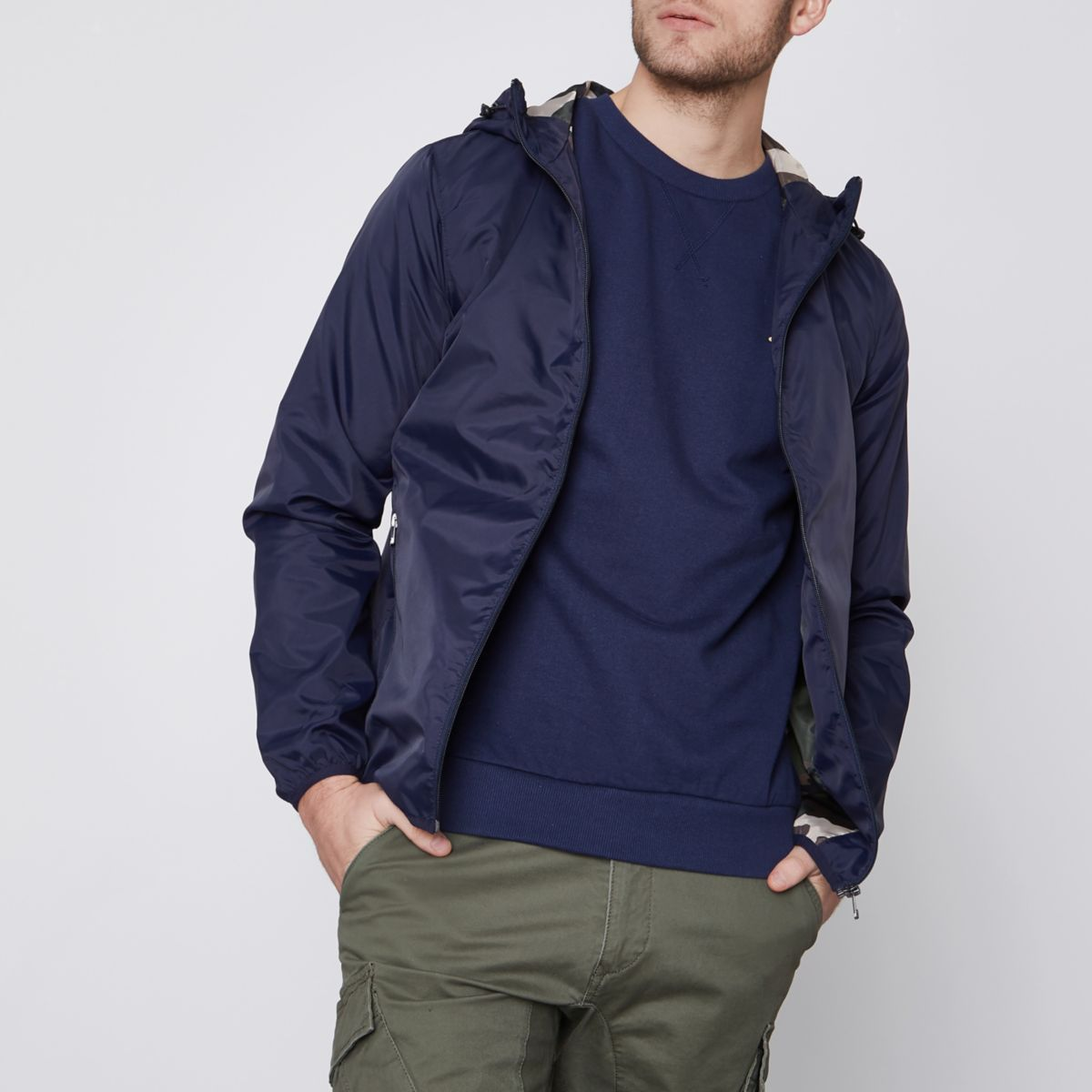 Navy Jack & Jones lightweight hooded jacket