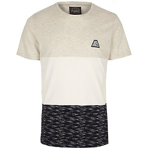 Jack & Jones – T-shirt blanc colour block