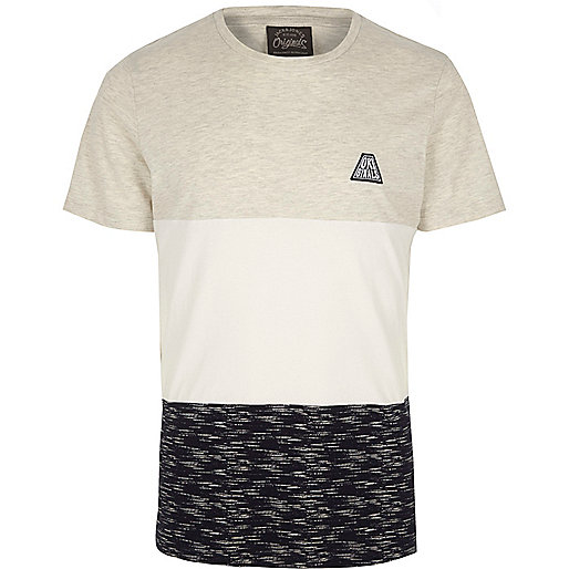 White Jack & Jones colour block T-shirt