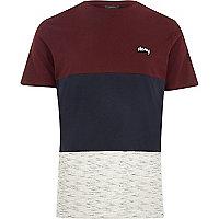 Dark red Jack & Jones blocked T-shirt
