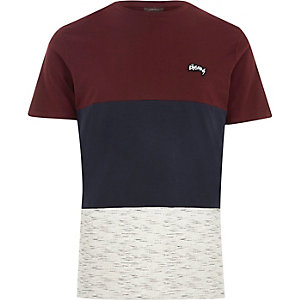 Jack & Jones – T-shirt rouge foncé colour block