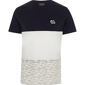 Jack & Jones – T-shirt bleu marine colour block