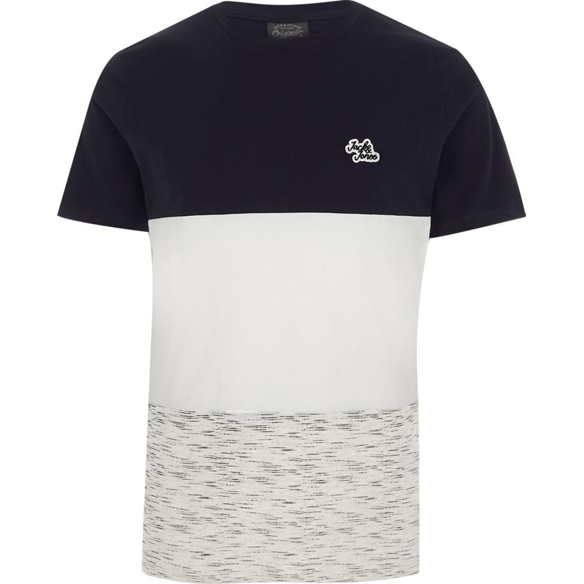 Navy Jack & Jones blocked T-shirt