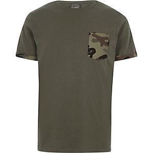 Dark green Jack & Jones camo pocket T-shirt