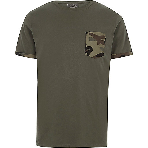 Dark green Jack & Jones camo pocket T-shirt