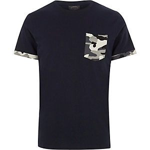 Navy Jack & Jones camo pocket T-shirt
