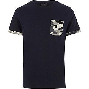 Jack & Jones - Marineblauw T-shirt met camouflageprint en borstzakje