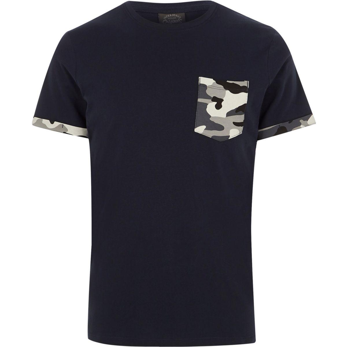 Navy Jack & Jones camo pocket T-shirt