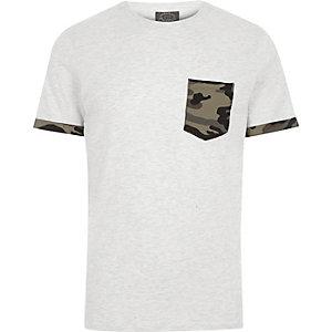 Jack & Jones - Wit T-shirt met camouflageprint en borstzakje