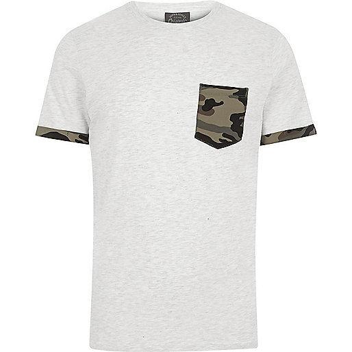 White Jack & Jones camo pocket T-shirt