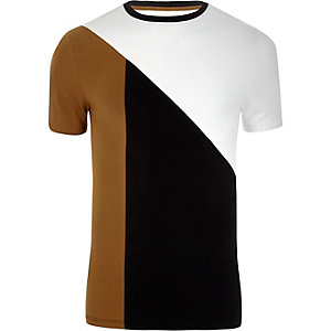 Tan block color muscle fit T-shirt