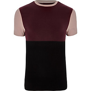 Dark red block colour muscle fit T-shirt
