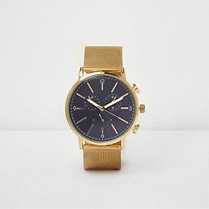 Gold tone mesh strap watch