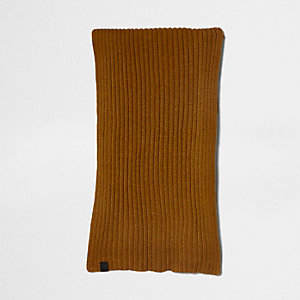 Mustard yellow rib knit scarf