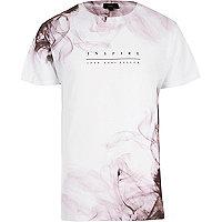 White 'inspire' smoke print T-shirt