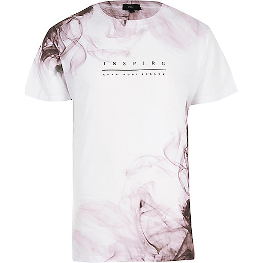 White 'inspire' smoke print T-shirt