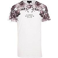 White floral 'Carpe Noctem' print T-shirt