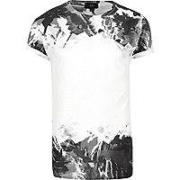 White mono camo fade print T-shirt