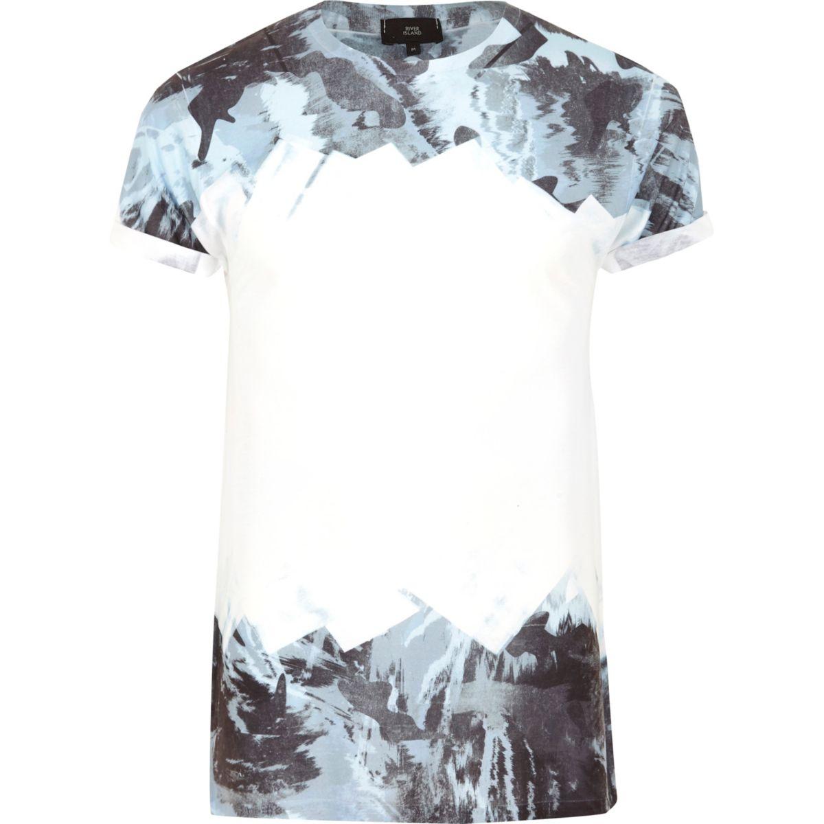 White and blue camo fade print T-shirt